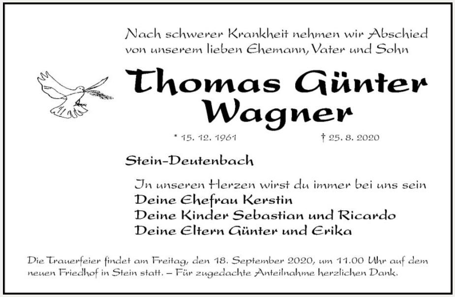 Traueranzeige der Familie Wagner
